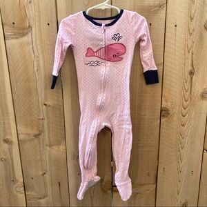 Absorba size 2T footed pajama whale polka dots